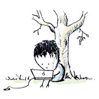 A doodle of me codeing under a tree