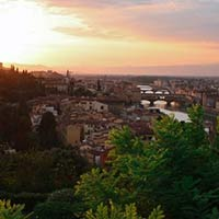The sun setting over Florence