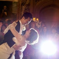 A newly wedded couple's first dance
